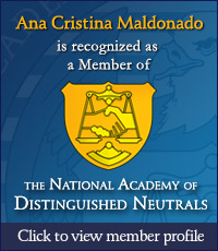 Ana Cristina Maldonado is recognized as a Member of the National Academy of Distinguished Neutrals