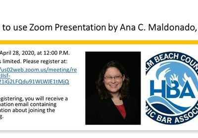 Mediator Cristina Maldonado to Present Zoom 'Lunch & Learn' for Palm Beach Hispanic Bar Association