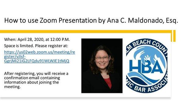 Mediator Cristina Maldonado to Present Zoom 'Lunch & Learn' for Palm Beach Hispanic Bar Association