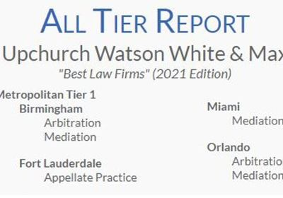 "UWWM Repeats Its Tier 1 ""Best Law Firms"" Ratings for Mediation/Arbitration"
