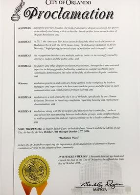 City of Orlando Proclaims Oct. 16-22 ABA Mediation Week