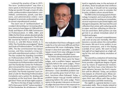 Mediator/Arbitrator Howard R. Marsee Writes on History of Professionalism 'Movement'
