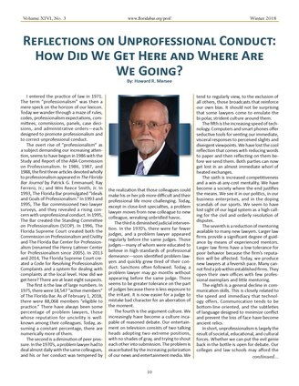 Howard Marsee's article on Page 10 of The Professional.