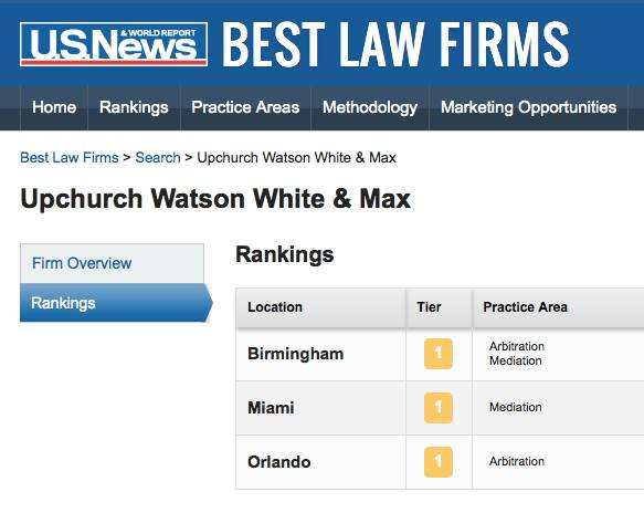 This screen capture shows U.S. News & World Report and Best Lawyers Tier 1 rankings for Upchurch Watson White & Max in Birmingham, Miami and Orlando metros.