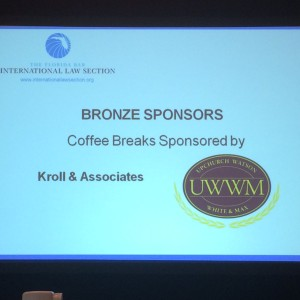Mediator Ricardo Cata took a photo of our sponsorship acknowledgement at the recent ILAT Conference.