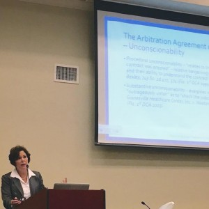 Photo by Lawrence Kolin Arbitrator A. Michelle Jernigan speaks at the OCBA Center in May.