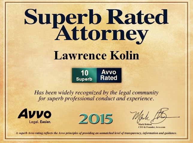 AVVO Superb 10 Rating Lawrence Kolin