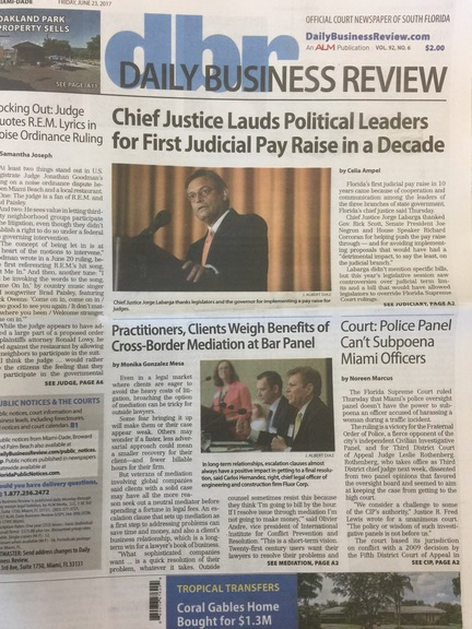 The South Florida Daily Business Review played the story on its front page.