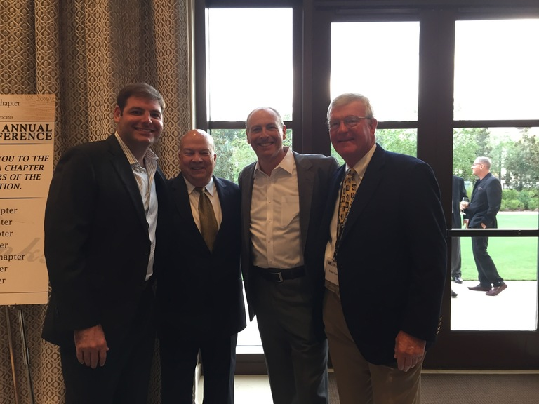 Bob Cole, right, is joined by FLABOTA past president's Tom Gamba, second from left, and Josh Whitman, second from right -- and Mr. Whitman's son Ben, who is a West Palm Beach attorney.