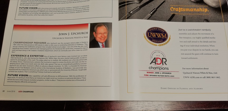 John J. Upchurch's profile in June's ADR Champions publication.